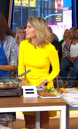 Amy's yellow long sleeve slit dress on Good Morning America