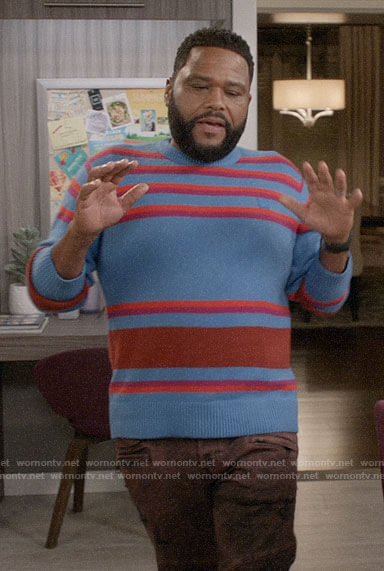 Andre's blue striped sweater on Black-ish