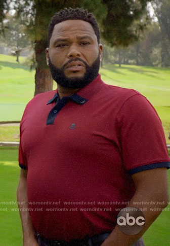 Andre's red golfing polo shirt on Black-ish