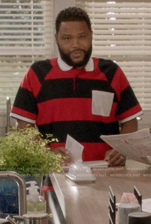 Andre's red striped polo shirt with white pocket on Black-ish