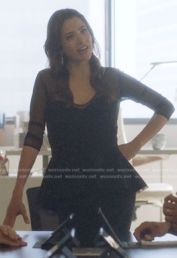 Andrea's black mesh peplum dress on Supergirl