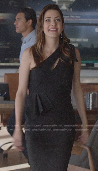 Andrea's metallic black one-shoulder dress on Supergirl
