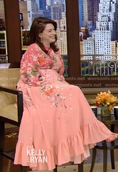 Anne Hathaway's pink floral maxi dress on Live with Kelly and Ryan