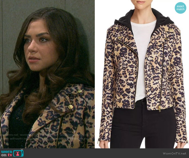 Aqua Leopard Faux Suede Moto Jacket worn by Ciara Brady (Victoria Konefal) on Days of our Lives