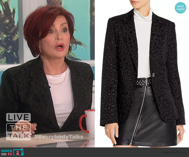 Leopard Brocade Blazer by Aqua Luxe worn by Sharon Osbourne  on The Talk