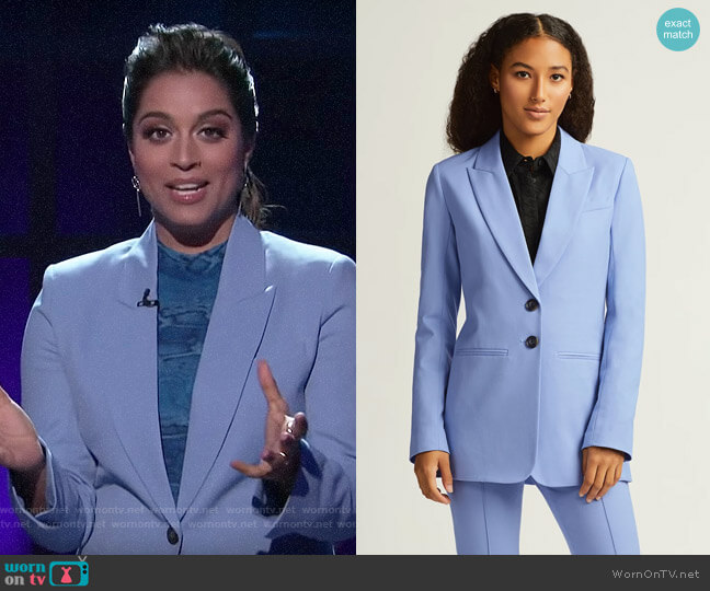 Argent Powder Blue Classic Blazer worn by Lilly Singh  on A Little Late with Lilly Singh