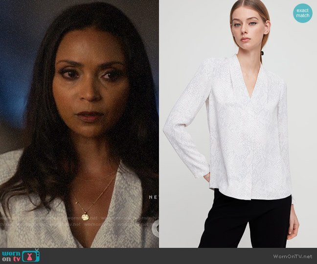 Aritzia Babaton Akira Blouse worn by Cecile Horton (Danielle Nicolet) on The Flash