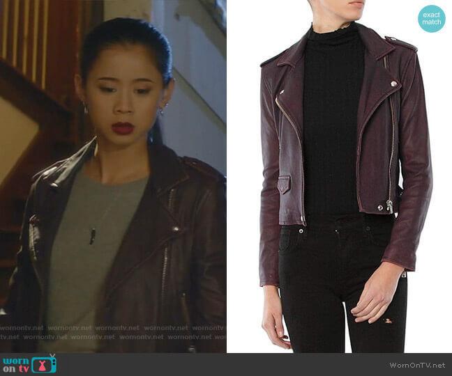 Ashville Leather Jacket by Iro worn by George Fan (Leah Lewis) on Nancy Drew