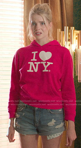 Astrid's pink I Heart NY hoodie on The Politician