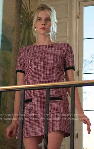 Astrid's pink tweed top and skirt set on The Politician