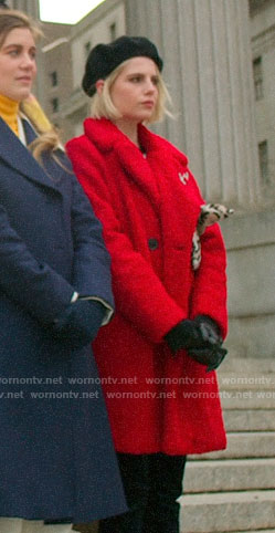 Astrid's red teddy coat on The Politician