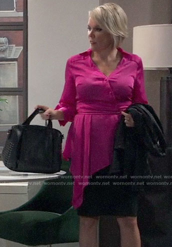 Ava's pink asymmetric blouse on General Hospital