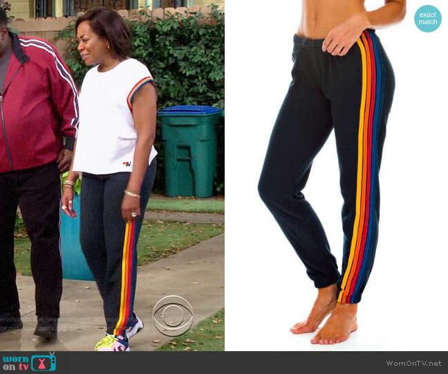 Aviator Nation 5 Stripe Sweatpants worn by Tina (Tichina Arnold) on The Neighborhood