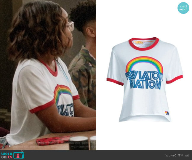 Aviator Nation Mountain Wave Boyfriend Tee worn by Diane Johnson (Marsai Martin) on Blackish