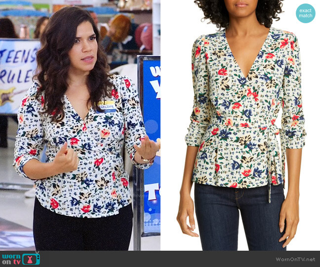 ba&sh Paco Floral Top worn by Amy (America Ferrera) on Superstore