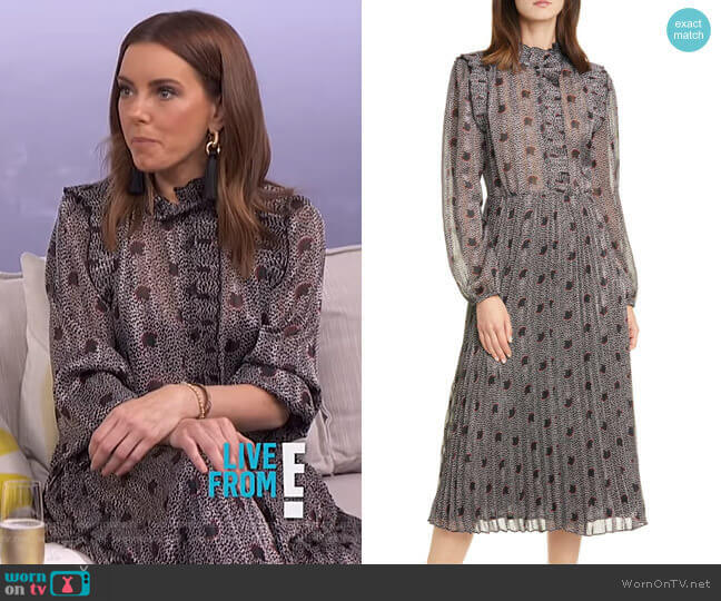 Paris Floral Long Sleeve Midi Dress by Ba&Sh worn by Melanie Bromley  on E! News