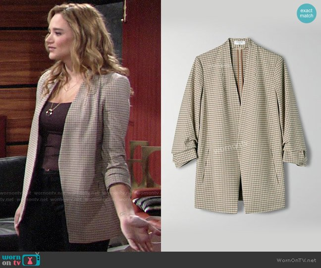 Aritzia Babaton Power Check Blazer worn by Summer Newman (Hunter King) on The Young & the Restless