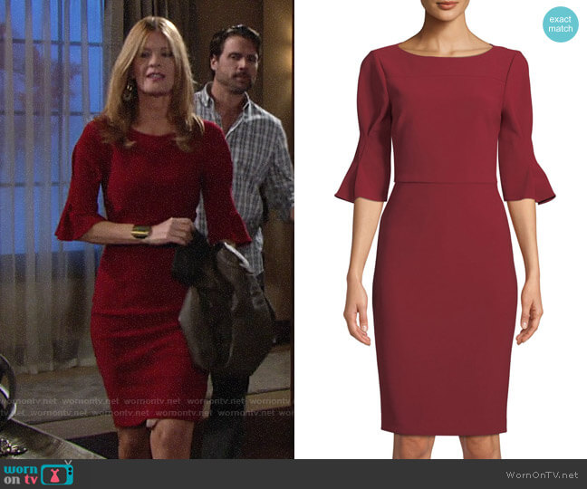 Badgley Mischka Pinched-Sleeve Sheath Dress worn by Phyllis Summers (Michelle Stafford) on The Young & the Restless