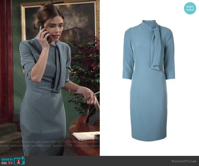 Badgley Mischka Tie Neck Fitted Midi Dress worn by Victoria Newman (Amelia Heinle) on The Young & the Restless