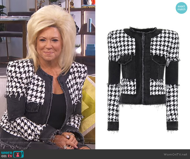 Houndstooth Cotton-Blend Jacket by Balmain worn on Theresa Caputo on E! News Daily Pop