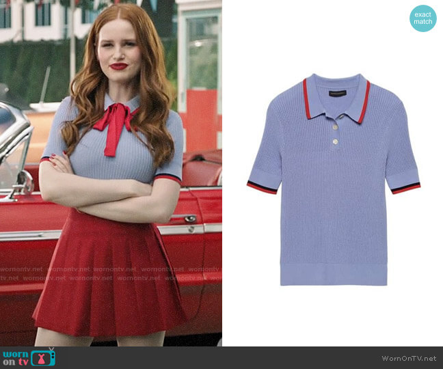 Banana Republic Ribbed Polo Sweater worn by Cheryl Blossom (Madelaine Petsch) on Riverdale