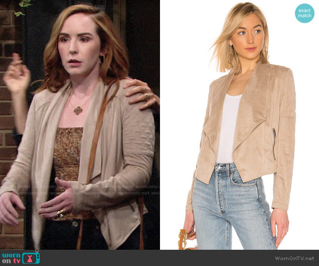 JACKET by BB Dakota Quilt Trip Faux Suede Jacket  worn by Mariah Copeland (Camryn Grimes) on The Young & the Restless