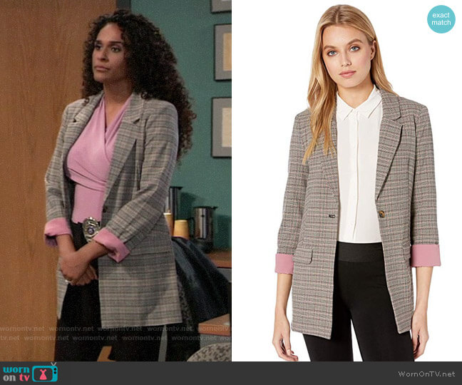 Bcbgeneration Boyfriend Blazer Jacket worn by Jordan Ashford (Briana Nicole Henry) on General Hospital