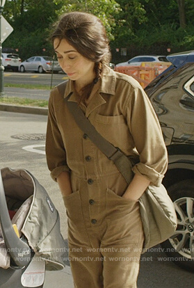 Maggie's brown utility overalls on Modern Love