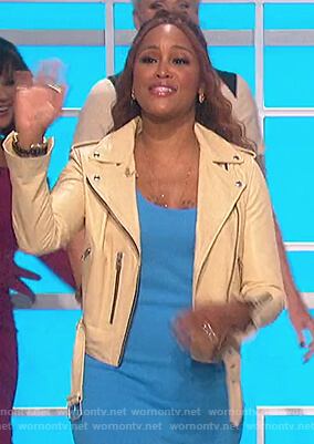 Eve's yellow leather moto jacket on The Talk