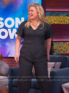 Kelly's belted jumpsuit on The Kelly Clarkson Show