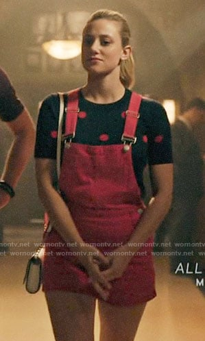 Veronica's black pearl neck top and plaid skirt on Riverdale