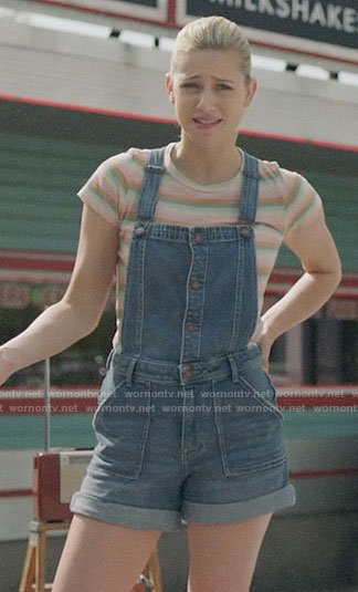 Betty's striped tee and short denim overalls on Riverdale