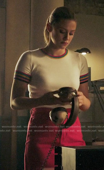 Betty's striped trim sweater and pink  denim skirt on Riverdale