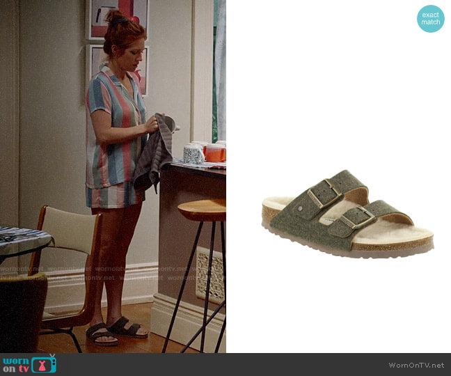 Birkenstock Arizona Wool Felt Sandal worn by Julia Bechley (Brittany Snow) on Almost Family