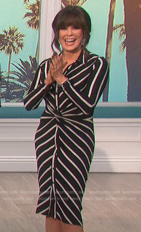 Marie's black striped knotted shirtdress on The Talk