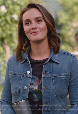 Angie's black unicorn print tee and denim jacket on Single Parents