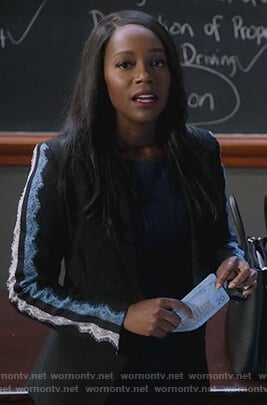 Michaela's black lace sleeve blazer on How to Get Away with Murder