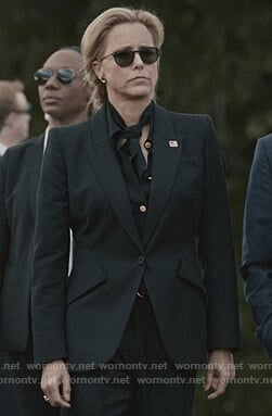 Elizabeth's black button blouse and blazer on Madam Secretary