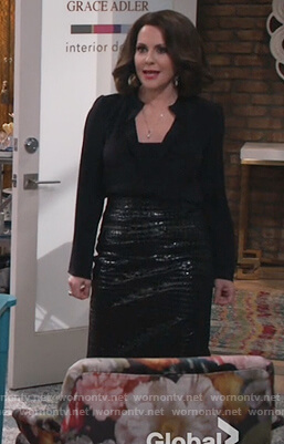 Karen's crocodile skin skirt on Will and Grace