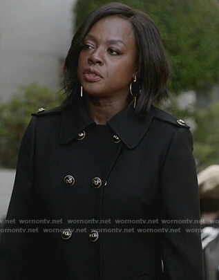Annalise's black trench coat on How to Get Away with Murder