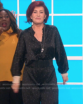 Sharon's black satin dotted blouse and pants on The Talk