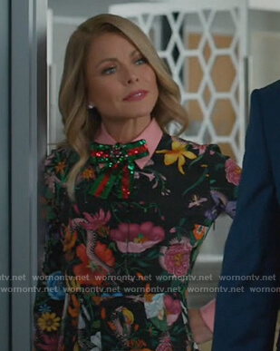 Kelly's black floral dress on American Housewife