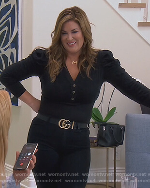 Emily's black puff sleeve blouse on The Real Housewives of Orange County