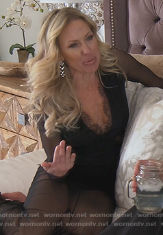Braunwyn's black lace dress on The Real Housewives of Orange County