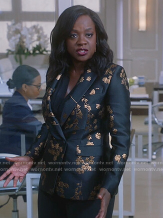 Annalise's black metallic floral blazer on How to Get Away with Murder