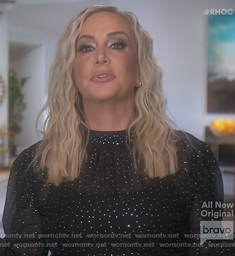 Shannon's black metallic dot blouse on The Real Housewives of Orange County