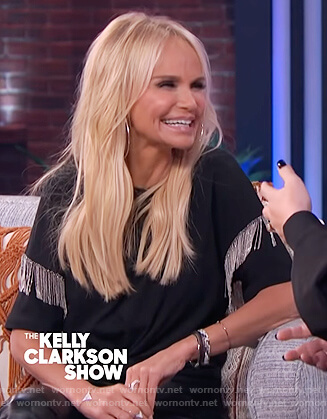 Kristin Chenoweth's black metallic fringe tee on The Kelly Clarkson Show