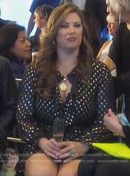 Emily's black metallic polka dot dress on The Real Housewives of Orange County