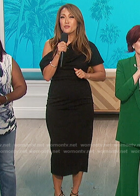 Carrie's black one off shoulder midi dress on The Talk