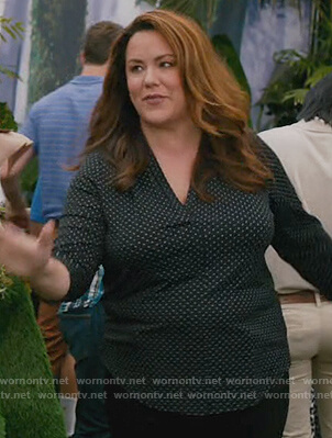 Katie's black polka dot v-neck blouse on American Housewife